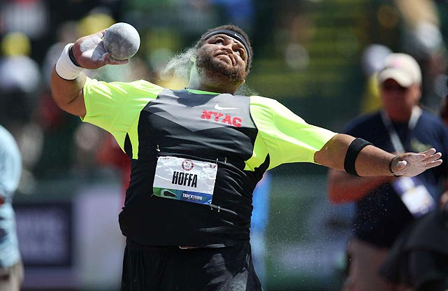 Hoffa, the 2008 Olympic trials champ, defended his crown on June 24, setting a mark of 72 feet, 2 1/4 inches in the shot put to earn a spot on Team USA. In London, he'll look to improve upon the seventh-place finish he tallied in Beijing.
