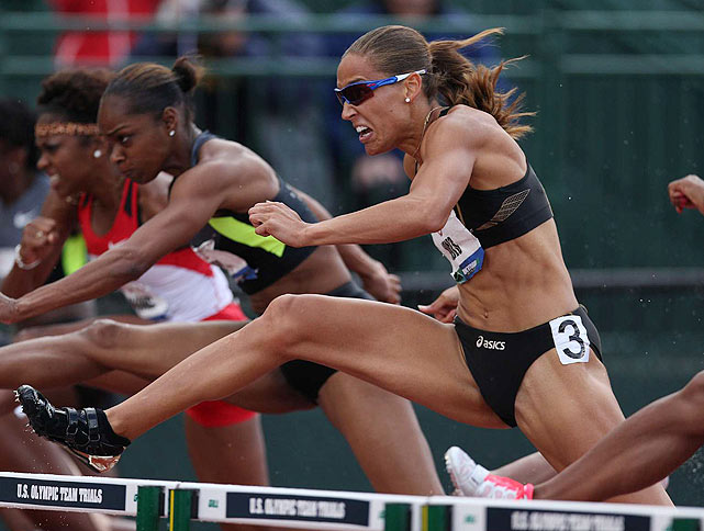 Lolo Jones tries to break away from the pack during the women's 100-meter hurdles final on June 23. Jones, who missed the medal stand in Beijing after stumbling on the penultimate hurdle, qualified for the 2012 Games with a third-place finish in the event. It will be her second Olympic Games.