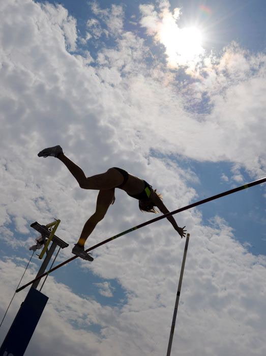 The U.S.'s Kylie Hutson flies over the pole in the women's pole vault competition.