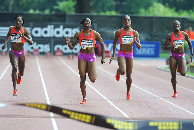 Francena McCorory won a very close women's 400 meters race, with the top four competitors finishing within a second of each other.