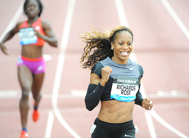 Sanya Richards-Ross flashes a smile after winning the women's 200 meters. Her time of 22.09 is the fastest in the world so far this year.