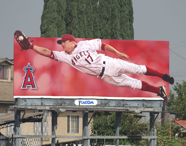 "A billboard of Darin Erstad and the Anaheim Angels overlooks the 10 Freeway in East Los Angeles. In 2005, owner Arte Moreno changed the team's name to the ""Los Angeles Angels of Anaheim"" to try to draw more fan support from greater Los Angeles."
