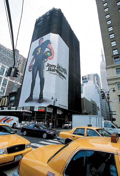 Not even Phil Knight's deep pockets could sway the 2001 Heisman Committee. Despite a strong season at Oregon and this gaudy billboard in New York's Times Square, Ducks quarterback Joey Harrington would finish fourth in voting and lose to Nebraska quarterback Eric Crouch.