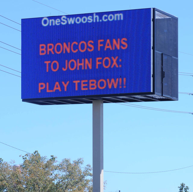 With a shaky start to the 2011 campaign under quarterback Kyle Orton, supporters of backup Tim Tebow voiced their opinions though a sign in Denver, Colo., to the Broncos brass just three games into the season, insisting first-year head coach John Fox bench Orton for their Mile High Messiah. About a month later with a 1-4 record, Fox finally did, sending Denver on one of the most memorable turnarounds in franchise and NFL history: a 7-4 finish and an AFC West title.
