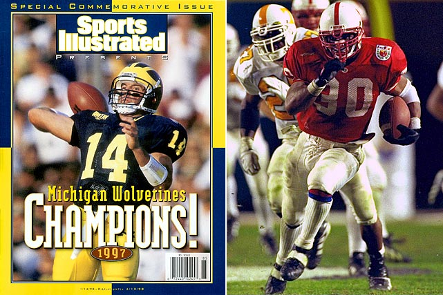 Led by a defense that featured multiple NFL draft picks (Heisman Trophy winner Charles Woodson, Dhani Jones, Sam Sword) and quarterback Brian Griese, Michigan impressed in its only undefeated season under Lloyd Carr. However, the Wolverines had to play Ryan Leaf and Washington State in the Rose Bowl instead of getting a showdown with undefeated Nebraska. Scott Frost and Ahman Green led Tom Osborne's offensive juggernaut, scoring 40 or more points eight times, including in the Orange Bowl against Tennessee. The coaches elevated Nebraska as an obvious favor to Osborne, who was retiring, and because of that this matchup remains one of the best games to never happen in college football history.