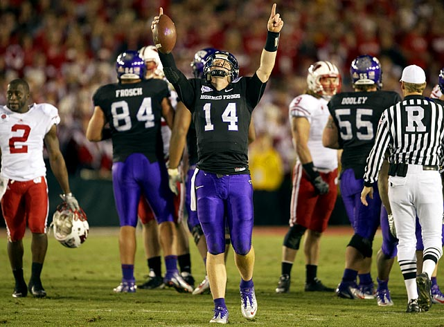 The Horned Frogs finished a second consecutive season with an undefeated record, but were not selected to play in the national title game because of two undefeated teams (Auburn and Oregon) from major conferences. TCU kept its perfect season intact with a 21-19 victory over Wisconsin in a historic Rose Bowl and finished the 2010 season ranked No. 2 in the polls.