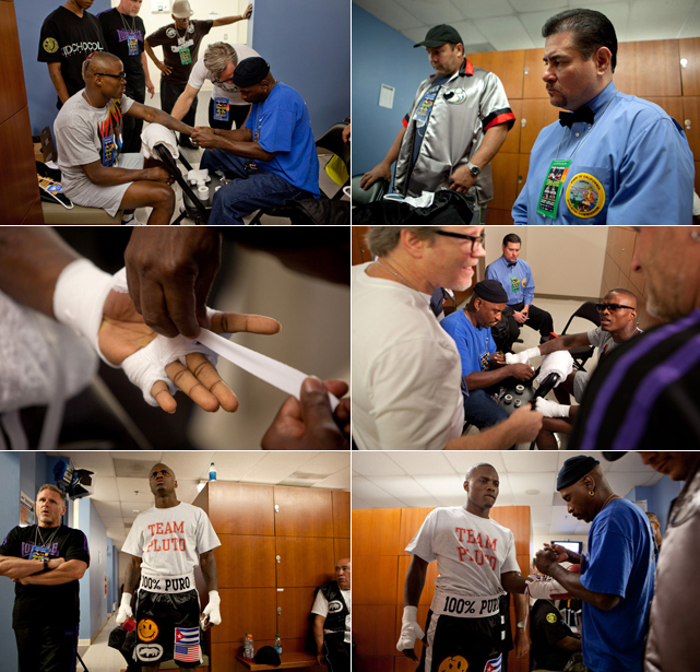 In the dressing room, Quillin is given final instructions by Freddie Roach, the five-time trainer of the year whose pupils include Manny Pacquiao and Amir Khan. Two members from Wright's camp, along with the referee, oversee the process.