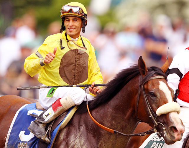 John Velasquez, Jockey of Union Rags celebrates his victory.