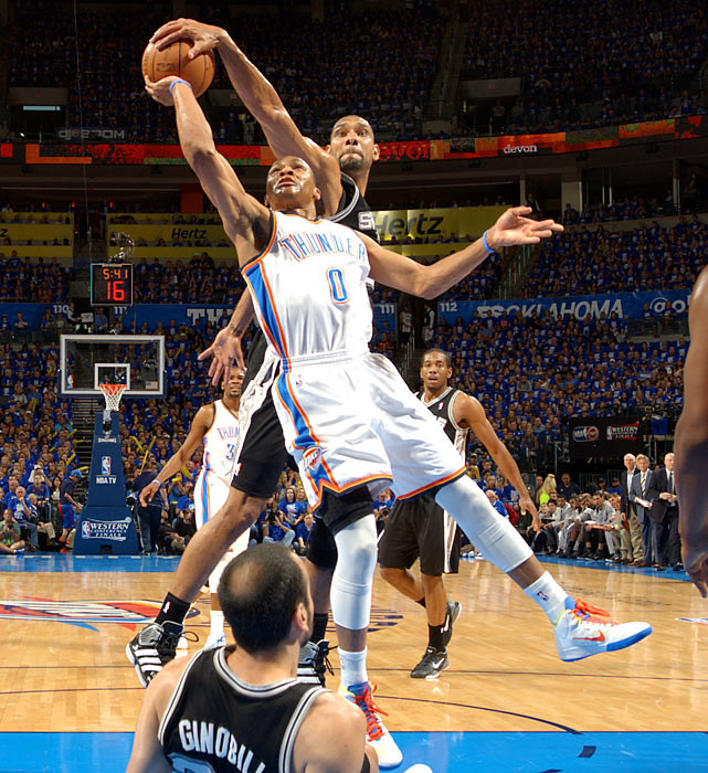Oklahoma City's Russell Westbrook gets blocked by Tim Duncan during Game 3 of the Western Conference Finals.