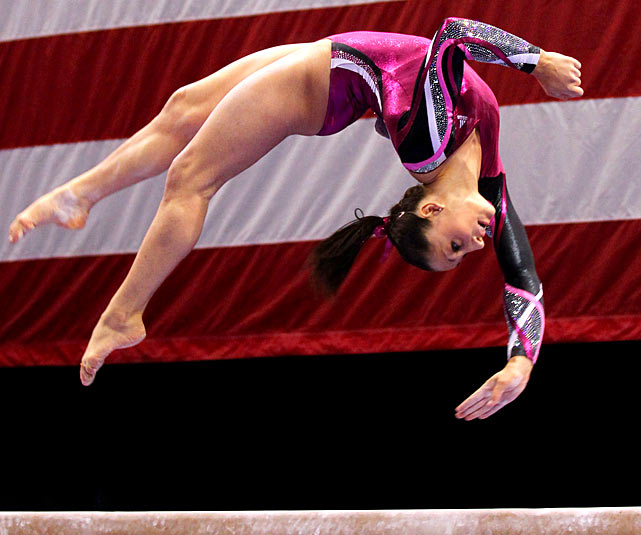 Jordyn Wieber flips on the balance beam during the second day of the 2012 Visa Championships. Wieber held off teammate Gabby Douglas to win the title at Chaifetz Arena in St. Louis.
