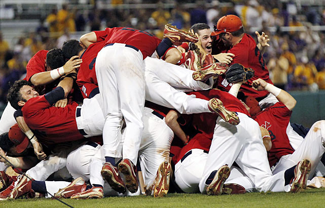 Stony Brook celebrates after defeating six-time national champion LSU in Baton Rouge, La., on June 10. With the victory, Stony Brook advances to the College World Series for the first time.