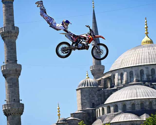 New Zealand's Nick Franklin pulls off this full-extension jump in front of the Blue Mosque in Istanbul.  The stunt was performed as part of the announcement of the third stage of the Red Bull X-Fighters World Tour in Turkey.