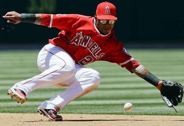 Los Angeles Angels shortstop Erick Aybar makes an error during an interleague matchup against the Los Angeles Dodgers.