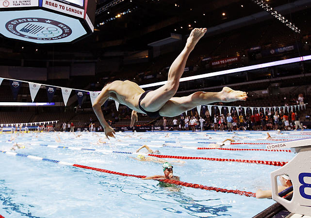 An unidentified swimmer takes his turn in the pool at the U.S Olympic swimming trials in Omaha, Neb.