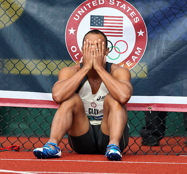 Decathlon gold medalist Bryan Clay stumbled during the 100m hurdles and lost out on his chance to defend his championship this summer.
