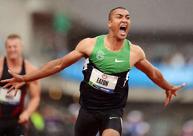 American decathlete Ashton Eaton screams in celebration seconds after setting the world record at the Olympic Trials.  Eaton will be a part of the Olympic team this summer in London.