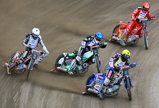 Greg Hancock of the U.S. (second from right)), Martin Vaculik of Slovakia (left), Peter Ljung of Sweden (second from left) and Andreas Jonsson of Sweden (right) compete in the FIM Poland Speedway Grand Prix in Gorzow Wielkopolski.