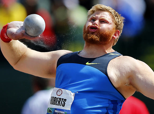 Kurtis Roberts puts all of his strength behindt his throw in Eugene, Ore., at the U.S. track and field championships.  He placed fifth and didn't make the cut for the Olympic team.
