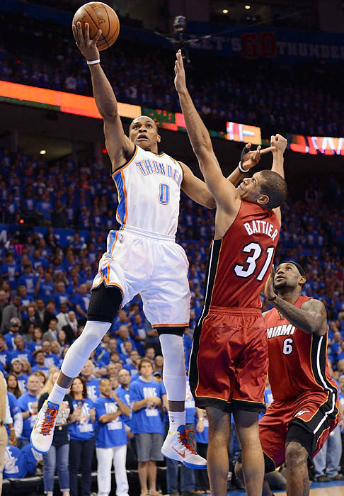 Westbrook was as aggressive as usual, which Shane Battier discovered the hard way.