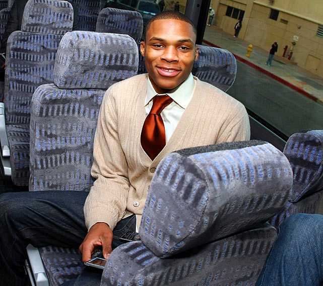 A member of the Rookie team participating in the T-Mobile Rookie Challenge & Youth Jam, Westbrook sits on the bus awaiting the game as part of 2009 NBA All-Star Weekend at the US Airways Center in Phoenix. Westbrook scored 12 points in a 122-116 loss to the Sophomores, who were led by  Thunder teammate Kevin Durant's game-high 46 points.