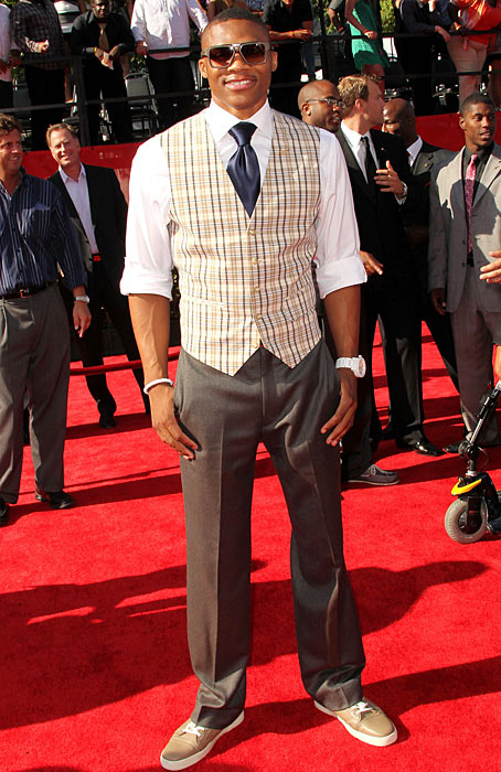 Always the style hound, Westbrook arrives to The ESPY Awards at Nokia Theatre in Los Angeles, Calif. in July 2011. The Connecticut Post subsequently awarded him a C- on its fashion report card from the ceremony.