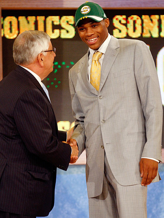 The fourth overall selection in the 2008 NBA Draft, Westbrook shakes hands with commissioner David Stern at the Wamu Theatre at Madison Square Garden after being chosen by the Seattle SuperSonics. The Sonics would become the Thunder after moving to Oklahoma City during that offseason, and Westbrook would never officially suit up as a member of the Seattle franchise despite being a part of its last draft class.