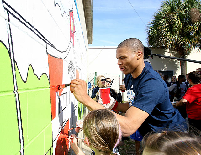 During a February 2012 NBA Cares Day of Service, Westbrook helped children paint during the All-Star Weekend at the Coalition for the Homeless in Orlando. The events marked Westbrook's second selection to the NBA All-Star team.