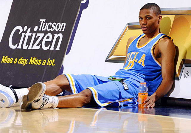 As a sophomore at UCLA, Russell Westbook waits to check into a game at the University of Arizona's McKale Center in 2008. In his second and final season as a Bruin, Westbrook was named the Pac-10 Defensive Player of the Year, as well as a third-team all-conference selection.