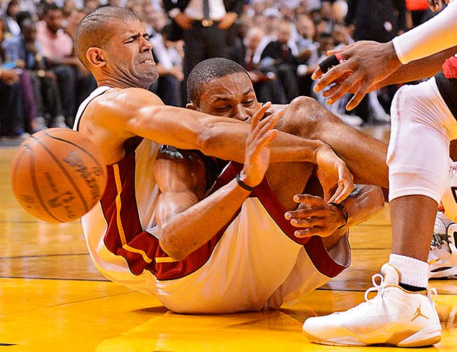 Shane Battier (left) and Russell Westbrook got tangled up in a game that wasn't decided until the final minute.