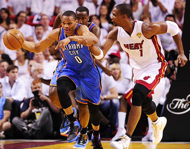 Chris Bosh and the Heat hounded Russell Westbrook, who scored but 19 points.