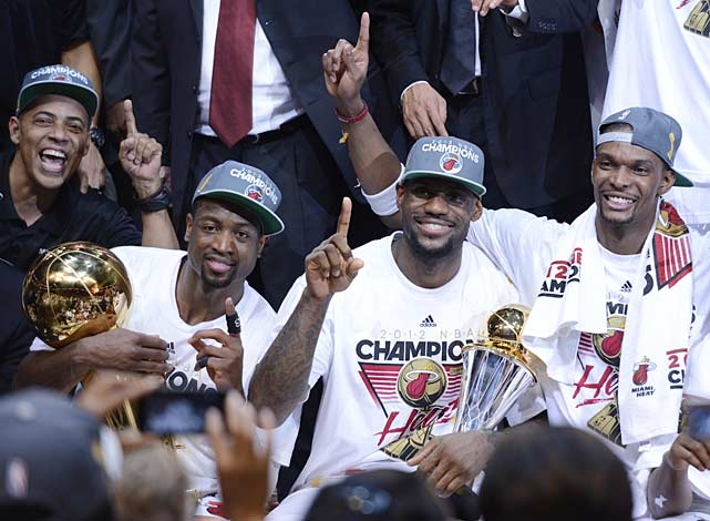 Dwyane Wade, LeBron James and Chris Bosh made amends for losing in last year's Finals by getting the job done this season.