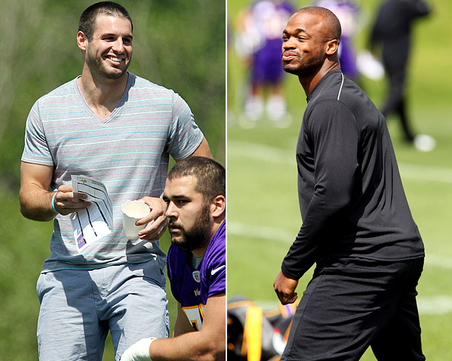 Even though Adrian Peterson is confident that he will be back for Week 1,  new starting QB Christian Ponder can't help but think about how much responsibility could fall on his shoulders during camp in Mankato, Minn.