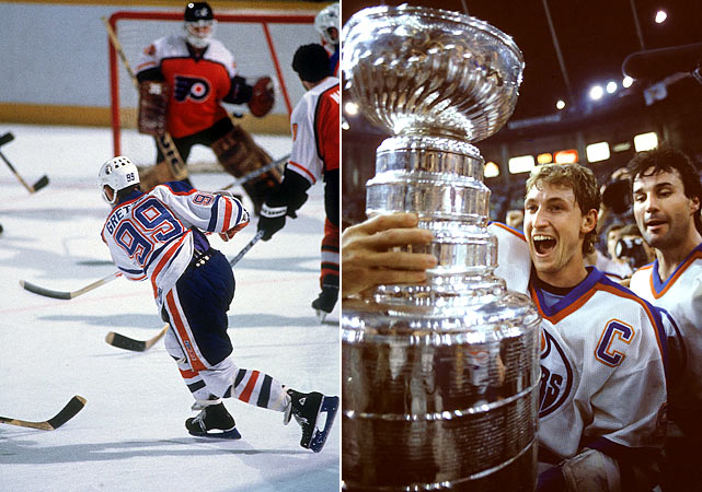 The Oilers were an awesome offensive machine. Wayne Gretzky set new single-postseason marks for assists (30) and points (47), and tied the record of seven goals in five-game Cup final. Jarri Kurri, who scored a record four hat tricks, ended up with 19 goals in 18 games, tying the mark set by Philadelphia's Reggie Leach in 1976, and Paul Coffey busted Bobby Orr's postseason standards for goals (9) and assists (19), finishing with 12 and 25 respectively. After sweeping through the first two rounds, the Oilers took out the Blackhawks in six (winning Game 1 by 11-2) and the Flyers in five.