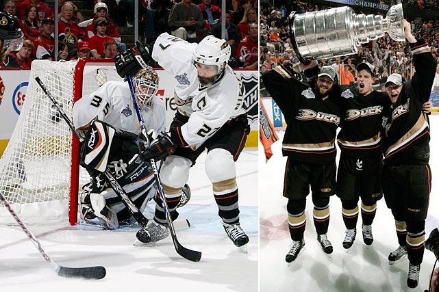 "They shed ""Mighty"" in name only, winning their first Pacific Division title. with 110 points, then tearing through the postseason while taking out the Wild and Canucks (two double OTs) in five games apiece, the Red Wings in six after falling behind two games to one, and the Senators in five."