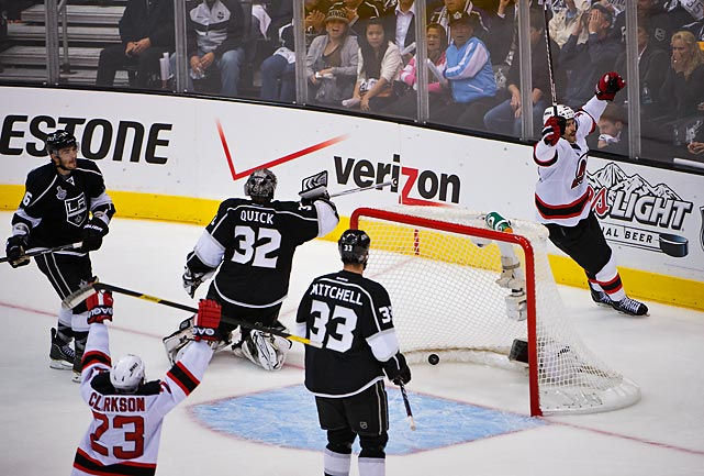 Adam Henrique beat Jonathan Quick with less than 5 minutes remaining to break the tie.
