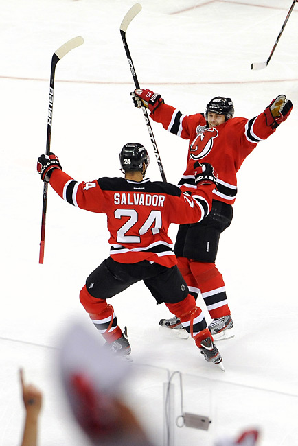 Bryce Salvador's second period goal broke a 1-1 tie, giving Anton Volchkenov and the Devils reason to celebrate.  Salvador's fourth tally of the playoffs turned out to be the game-winner.