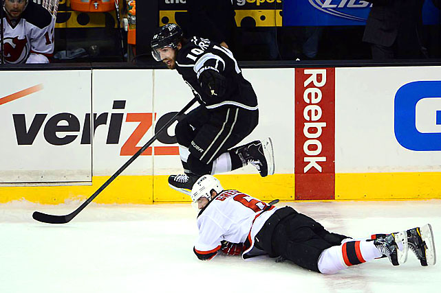 Mike Richards assisted on L.A.'s first two goals and finished with 15 points in the playoffs as the Kings flew past the Devils early in the game.