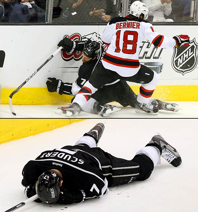 One penalty abruptly changed the tone of the series. The Kings scored three goals during a five-minute power play in the first period after Steve Bernier was ejected for boarding Rob Scuderi, leaving the veteran defenseman in a pool of blood.