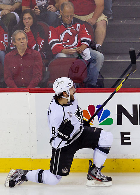 Kings defenseman Drew Doughty's third goal of the playoffs gave the Kings a 1-0 lead in the first period.
