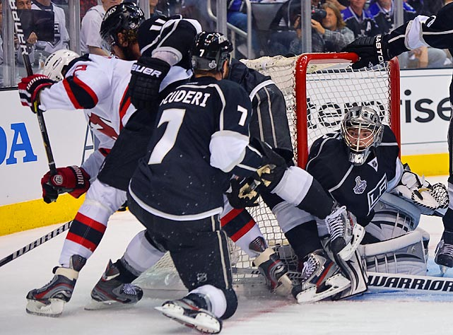 Despite plenty of traffic around his net, Kings goalie Jonathan Quick turned in his third shutout of the 2012 postseason.