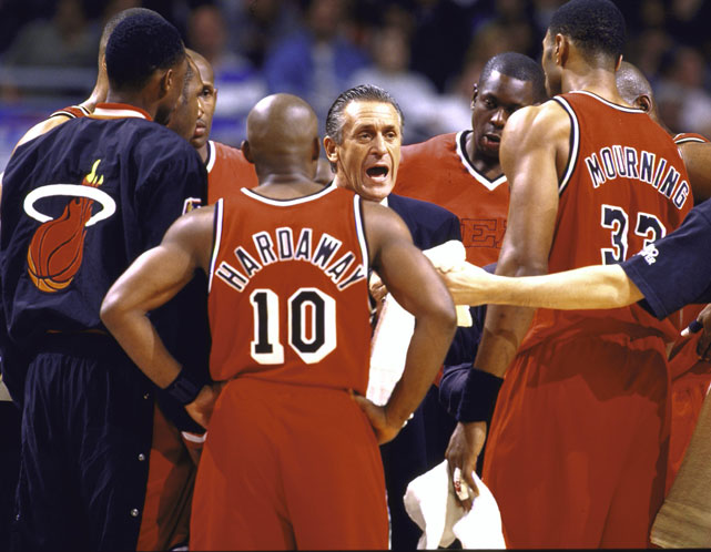 Riley barks at his team during the 1997 Eastern Conference Finals. There was only so much even Riley could do, the Heat lost in five games to the defending champion Chicago Bulls, who would eventually repeat as champions.