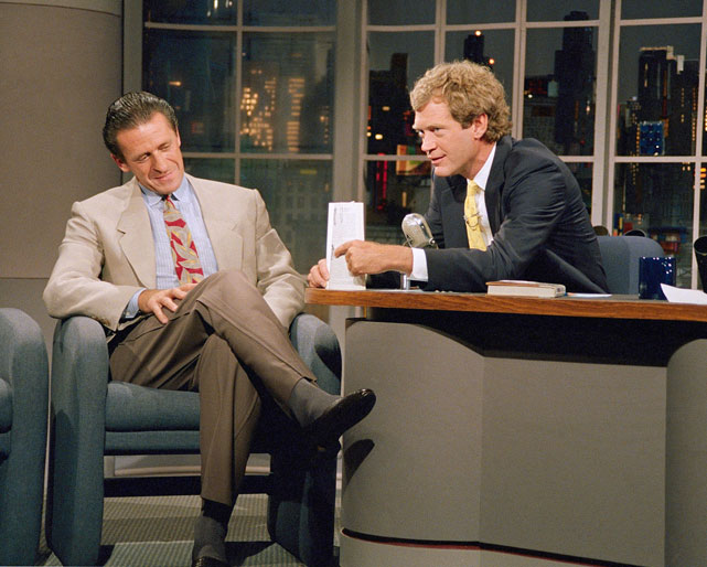 Riley jokes around with David Letterman eight days after the Riley's Los Angeles Lakers won the NBA Championship over the Detroit Pistons in seven games.