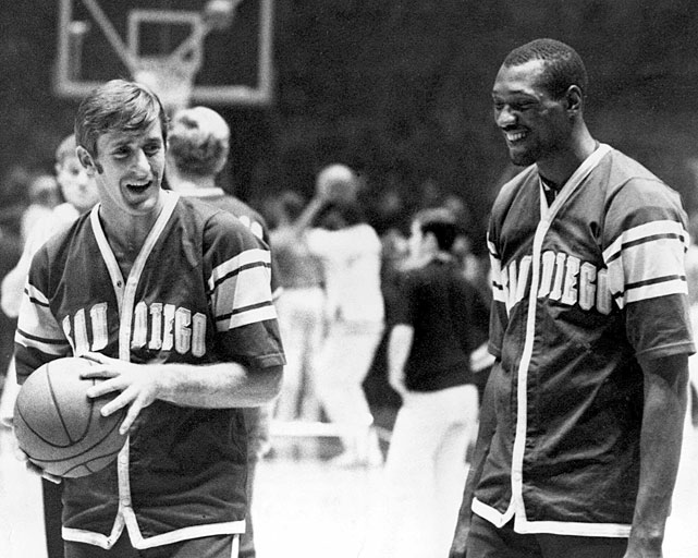 Riley chats with teammate Elvin Hayes at New York's Madison Square Garden in 1968. Riley's fellow San Diego Rockets teammates included Minnesota Timberwolves head coach Rick Adelman and Lakers' color announcer Stu Lantz.