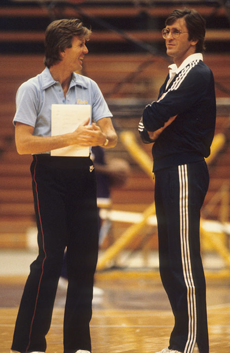 Riley chats with Paul Westhead during a L.A. Lakers practice in 1980. The Lakers would win 12 out of 16 playoff games and finish off the Philadelphia 76ers in six games for the 1980 NBA Championship.