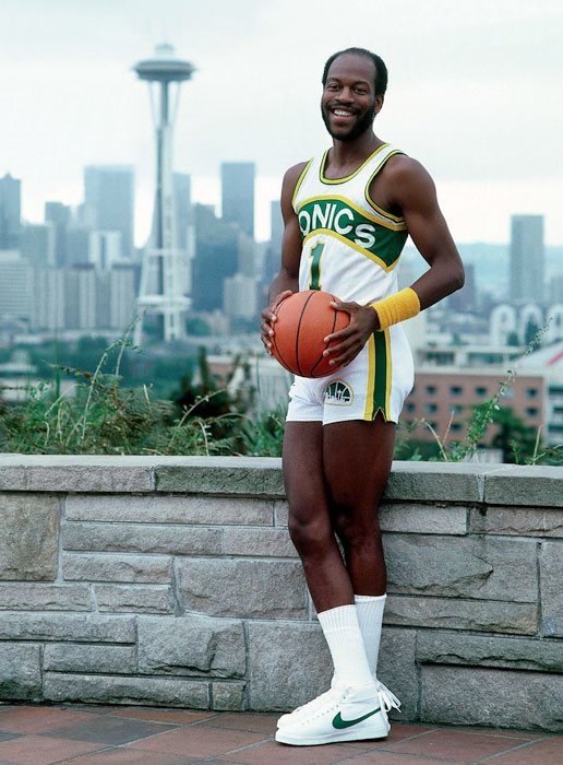 "A 29 year-old Gus ""The Wizard"" Williams poses in Seattle prior to the 1982-83 season in which he started all 80 games and averaged 20 points."