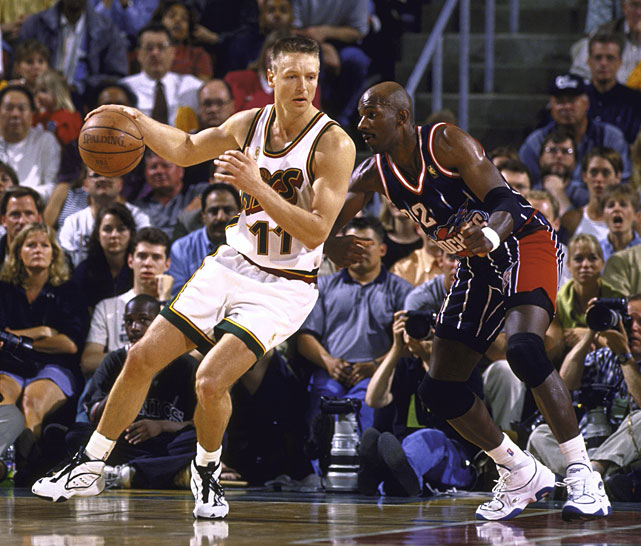 During Game 3 of the Western Conference Semifinal, Detlef Schrempf posts up  Rockets legend Clyde Drexler.  The Supersonics were eventually defeated in a competitive 7 game series.