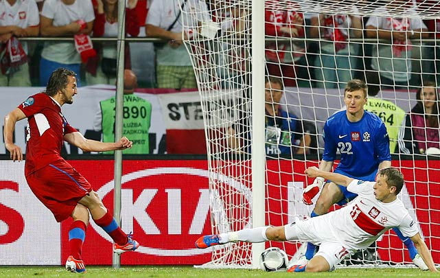 Petr Jiracek scored a surprising 72nd minute strike to put the Czech Republic through to the quarterfinal and win Group A. Poland could not find a way to solve Czech goalie Petr Cech, despite playing a stronger game most of the first half. The hosts exited the tournament despite three strong games negated primarily by good goalkeeping. The Czechs received a boost from Greece's surprise defeat of Russia