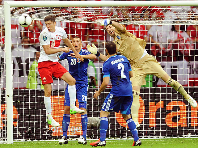 The opener may have ended in a 1-1 draw, but it remains one of the most thrilling matches of the tournament thus far. A 17th minute strike from the Robert Lewandowski gave the Poles an early 1-0 lead, and a 44th minute red card to Greece's Sokratis Papastathopoulos appeared to secure an early victory for the notoriously hard-luck Poles. But despite losing a man, the Greeks, led by substitute Dimitris Salpingidis, blitzed the Poles early in the second half. The reserve forward tied the game in the 51st minute and then earned a penalty kick twenty minutes later after Poland's star goalie Wojciech Sczcesny tackled him on a breakaway. Sczcesny was subsequently ejected, but veteran Giorgos Karagounis, the most capped player in Greek history, could not beat Polish reserve goalkeeper Przemyslaw Tyto from the penalty spot to take the lead.