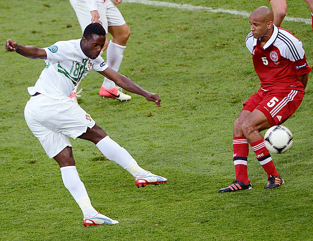 """It was the type of excitement expected from a game in the """"Group of Death"""", and it took a magnificent strike from a little-known Portuguese reserve to separate the two sides. While international superstars Cristiano Ronaldo and Nani could not convert generous chances, Varela, who had come on three minutes before his goal, smashed home a volley inside the penalty area just seven minutes after Nicklas Bendtner equalized for Denmark."""