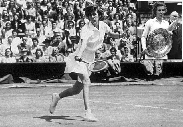 Wimbledon (1951)   French Open (1950, '52)   Australian Open (1949)   US Open (1954, '55)